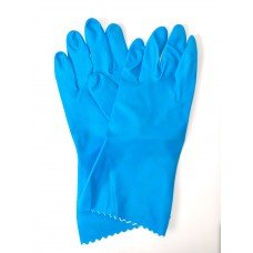 Blue Flock Lined Natural Rubber Gloves (9 - 9 1/2)
