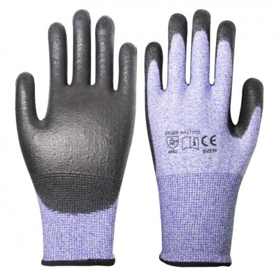 Blue/Black PU Coated Cut Proof Level 5 Gloves