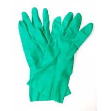 Green Flock Lined Natural Rubber Gloves (Medium)