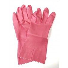 Pink Flock Lined Natural Rubber Gloves (9 - 9 1/2)